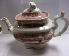 Antique Red Transferware Staffordshire Teapot w/ Flower Finial Lid