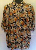 Pierre Cardin Mens Shirt Sz XL Black Multicolor Floral Hawaiian Short Sleeve