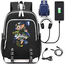Splatoon 2 Inkling Boy USB Charging Backpack Headphone Schoolbag Laptop Rucksack