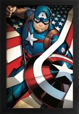 CAPTAIN AMERICA FLAG 13x19 FRAMED GELCOAT POSTER MARVEL COMICS MOVIES AVENGERS!!