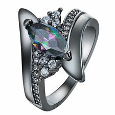 Elegant Titanium Steel Gun Black Rainbow Mystical Topaz Engagement Ring Size: 9