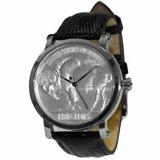 Croton Swiss Movement US Buffalo Head Coin Mens Silver-Tone Watch Leather Band