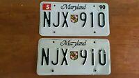 Vintage SET of 1990 MARYLAND SEAL LICENSE PLATES TAG # NJX 910