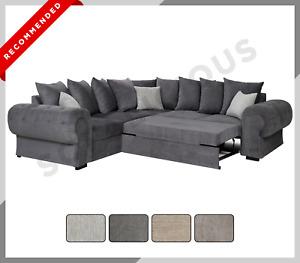 CORNER SOFA BED Niko Chesterfield Style Scatter Back Fabric Grey - Cream - Mocha