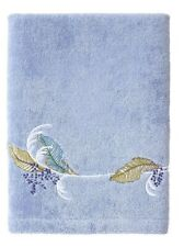 BNWT.YVES DELORME PLUMES.EMBROIDERED COTTON BATH TOWEL.PERIWINKLE BLUE.