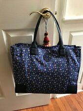 "Tory Burch Ella Packable Tote Navy Blue Wild Pansy Nylon Bag   ""NWT"""