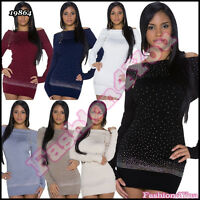 Women's Jumper Dress Ladies Sequins Pullover Sexy Sweater One Size 8,10,12,14 UK