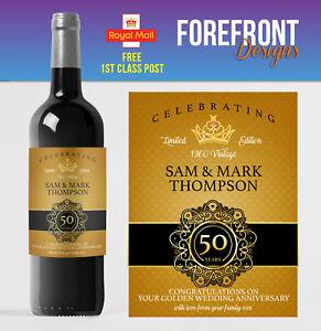 Personalised Wine bottle label 50th GOLDEN wedding anniversary/wedding gift