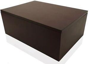 Wood Stash Box with Rolling Tray - Large Wood Stash Box w/Storage Dark Brown