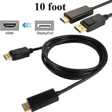 10FT Display Port to HDMI Cable Cord DP to HDMI Cable Adapter Gold Plated HD US