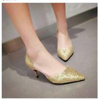 Ladies Glitter Kitten Heel Sliver Gold Bling Pointed Toe Wedding Party Shoes