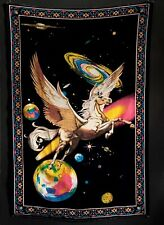 """Vintage 1970'S Pegasus Universe Psychedelic Fantasy A.T.C. Tapestry, 34.5""""X52"""""""