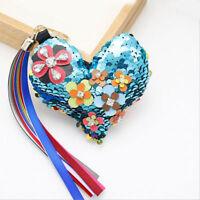 Glitter Sequins Love Heart Tassel Pendant Keychain Handbag Car Key Ring