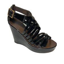 Tory Burch Annamarte Wedge Platform Sandal Size 6.5 Black Patent Leather