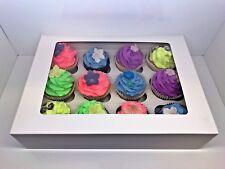 10 x scatole per Cupcake Bianche racchiusa nel riquadro per 12 tazze torte con vassoio interno removibile
