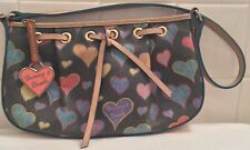 Dooney & Bourke Purse Pink Heart Tag Adorned Handbag Pebbled Leather Authentic