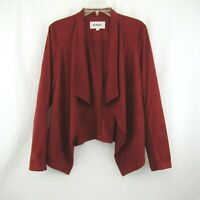 BB Dakota Wade Rust Faux Suede Waterfall Front Jacket Size L Rib Knit Sleeve