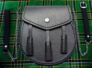 New Scottish Black Sporran With 3 Tassels & Belt and Chain Wedding Sporran
