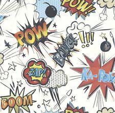 Rasch Ka Pow Comic Book Theme Kids Wallpaper Red White Blue Boom Zap 57.75 sq ft
