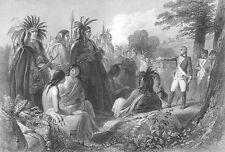 REVOLUTIONARY WAR JOHN BURGOYNE & INDIANS SARATOGA ~ 1839 Art Print Engraving