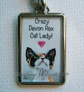 DEVON REX CAT GLITTERY HEART KEY RING HANDBAG CAT CARRIER CHARM SUZANNE LE GOOD