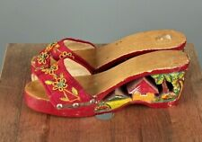 Vtg Women's 1950s Carved Wooden Capili Tiki Heels Sz 6 #2858 50s Wood Shoes