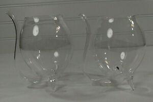 Flower Bud Bulb Long Stem & Bouquet Vase Holder Flask Beaker Blown Glass 2Pc SET