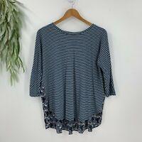 Ann Taylor Loft Womens Knit Top Size M Blue Stripe Chiffon Ruffle Hem T-Shirt