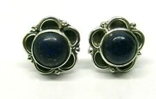 Handmade 925 Sterling Silver Lapis Lazuli Round Flower Stud Earrings 10mm  Boxed