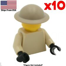 LEGO WWII Brodie British Helmet Tan 10 Pack Army Soldier Military Accessory Lot