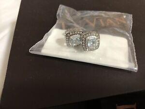 Le Vian 14ct Vanilla Gold Aquamarine & Diamond Earrings Brand New Sealed