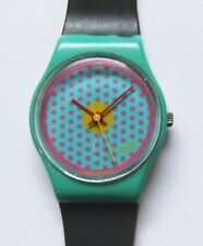 Swatch Watch-1986-Pink Dots-LL100-Nice Cond-New Band-Polished Crystal-New Batt
