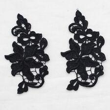 Guipure motif de dentelle - 4 comte-Motif Floral Fleur Feuilles-Noir - 5.5 cm x 10 cm-M38