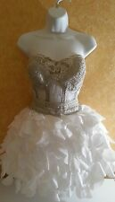 SAMPLE / Sheer Jewel Boned White Silver Corset Tutu Burlesque Wedding Dress