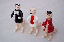 3 x MEERKAT ORNAMENTS@White@Red@Black Coated Animal@Spectacles~Hat~Goggles@Glass