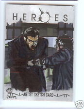 RARE Heroes COLOR DETAIL sketch Ocampo Sylar Hiro DUEL!