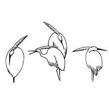 ORIENTAL HERONS unmounted Asian bird rubber stamp, crane, Japanese #9