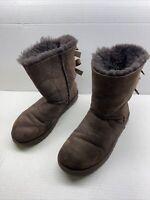 UGG Australia Bailey Bow II Suede Sheepskin Boots Women's Sz 8 Brown 1016225