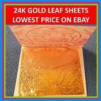 "24K PURE EDIBLE GOLD REAL GENUINE LEAF LEAVES SHEET GILDING 1.18"" CRAFT MASK SPA"