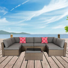 7PC Outdoor Furniture Couch Wicker Rattan Cushioned Sofa Sectional Set W/ Pillow