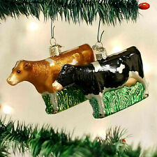 CHRISTMAS COW ORNAMENT VARIATION. OLD WORLD CHRISTMAS BEAUTIFUL GLASS