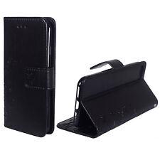 Housse de protection fleurs pour téléphone Apple iPhone 7 noir wallet cover case étui NEUF