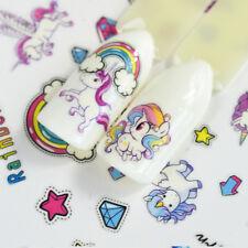 Cute Cartoon Unicorn Water Transfer Flower Nail Art Stickers 2Sheets Pretty Girl
