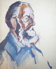 Vintage male portrait gouache painting
