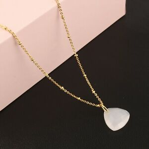 White Chalcedony Yellow Gold Plated Pendant Chain Necklace Handmade Jewelry