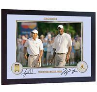 Michael Jordan Tiger Woods signed autograph Print photo NBA golf Framed