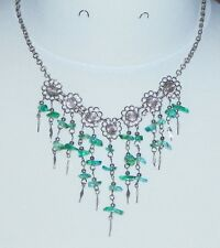 Alpaca Silver Flower & Green Stone Chip Handmade Peruvian Bib Necklace