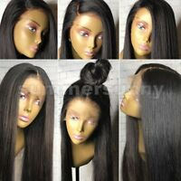 100% Women Indian Virgin Human Hair Full Front Lace Wig Natural Straight Wave sg