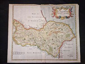 1722 ORIGINAL MAP North Riding YORKSHIRE Morden HAND COLOUR Engraved FOLIO