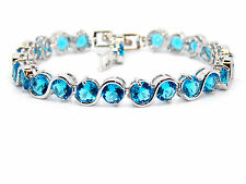 Silver London Blue Topaz Round Cut 11.54ct Adjustable Tennis Bracelet